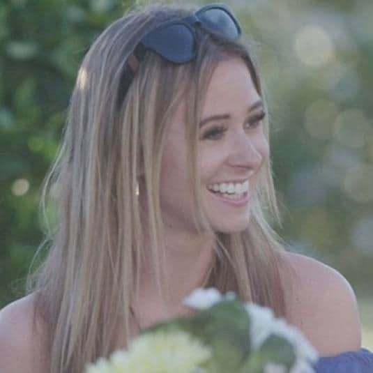 screenshot of love island contestant camilla thurlow with blonde highlighted hair