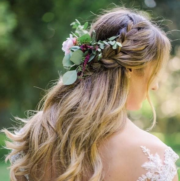 Wedding Hairstyles Down With Braids: Wedding Hair Flowers: 9 Floral Looks For Your Big Day