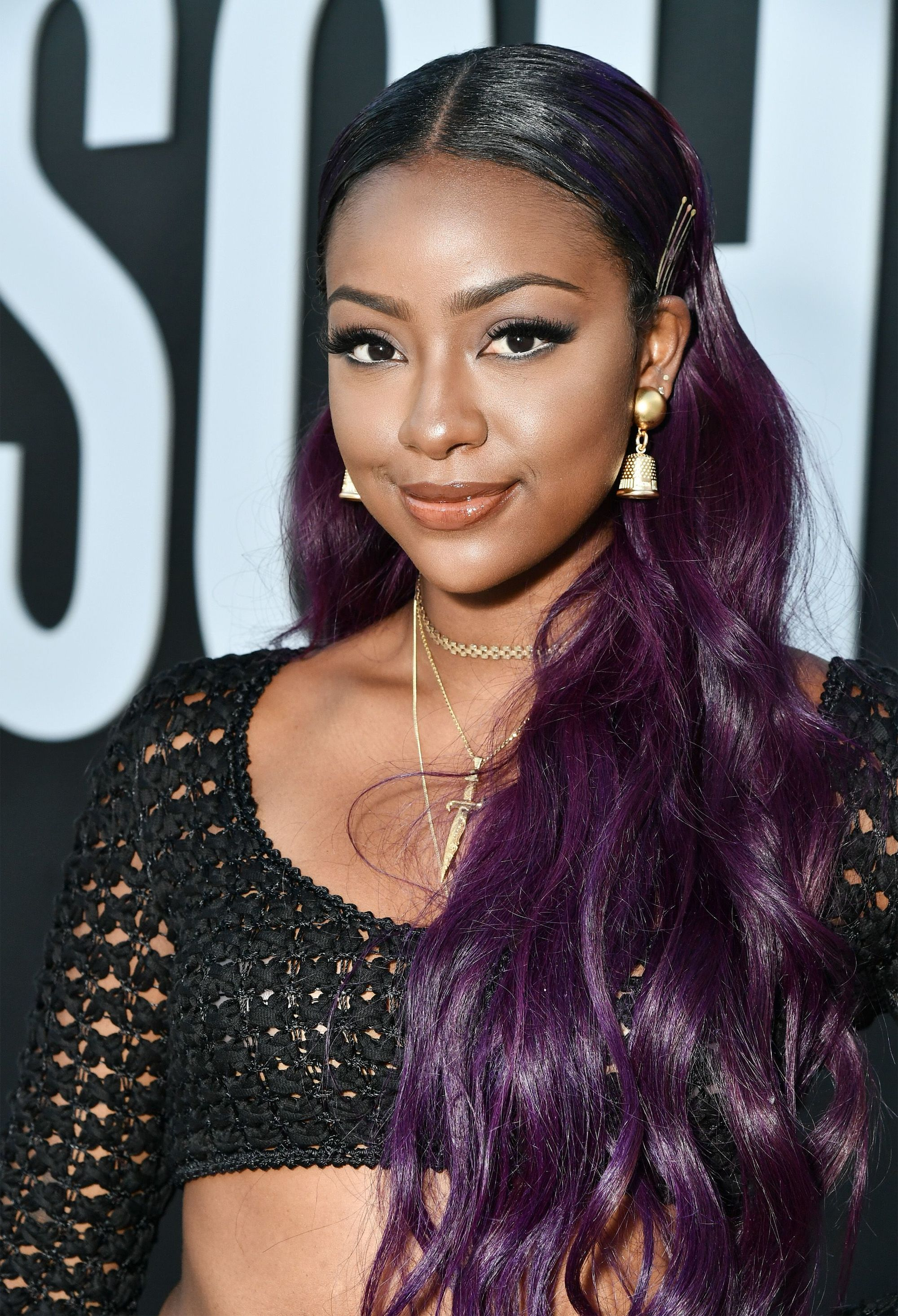 shot of justine skye with purple dark brown ombre hair on the red carpet