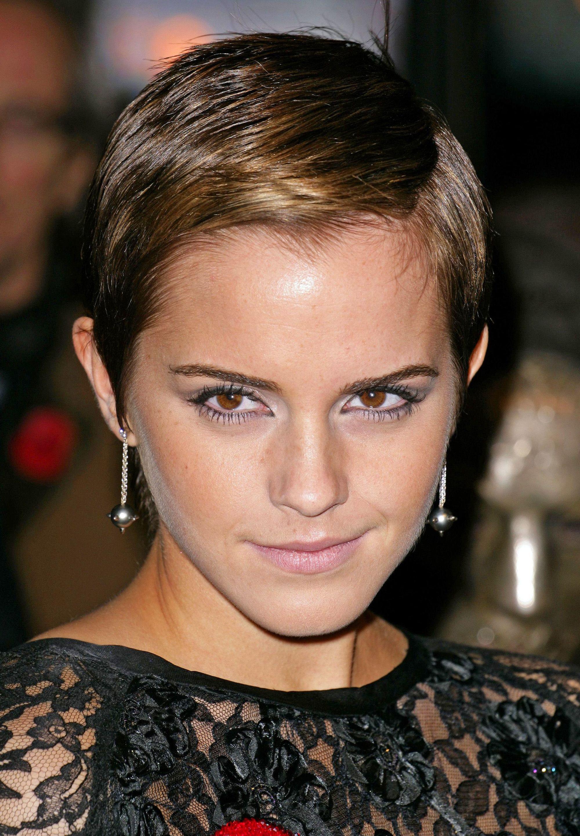 Emma Watson blonde hair in pixie crop