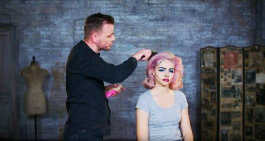 Superdrug Loves cartoon kid Halloween hair tutorial curly hair being brushed
