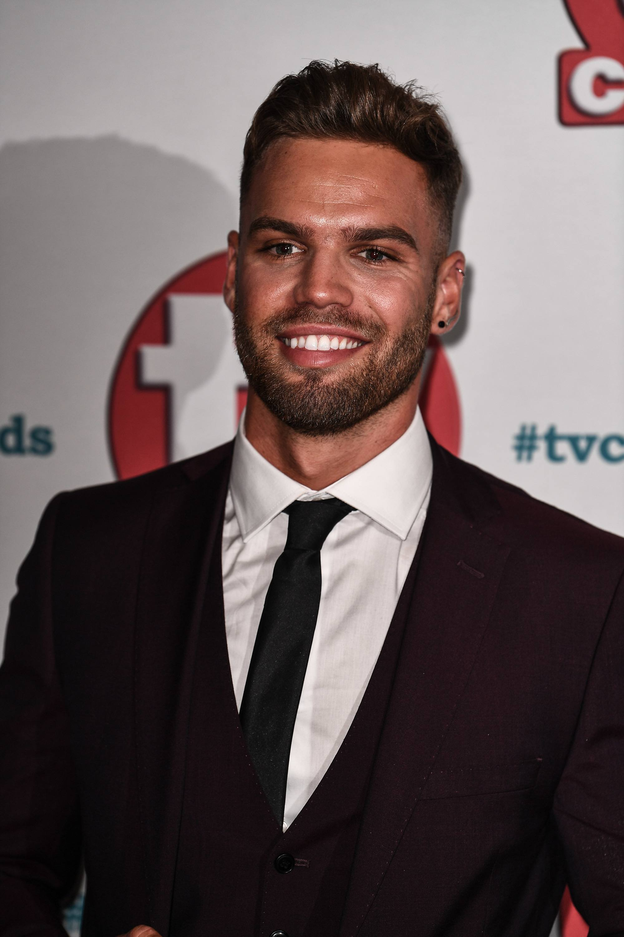 Love Island's Dominic Lever on the tv choice awards red carpet with a spiked up quiff