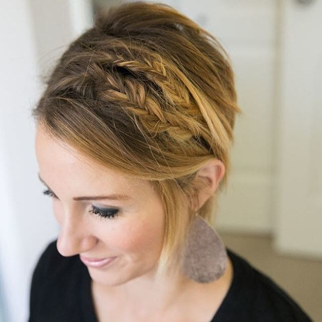 Easy braids for short hair: Side view of blonde hair long pixie with two side braids