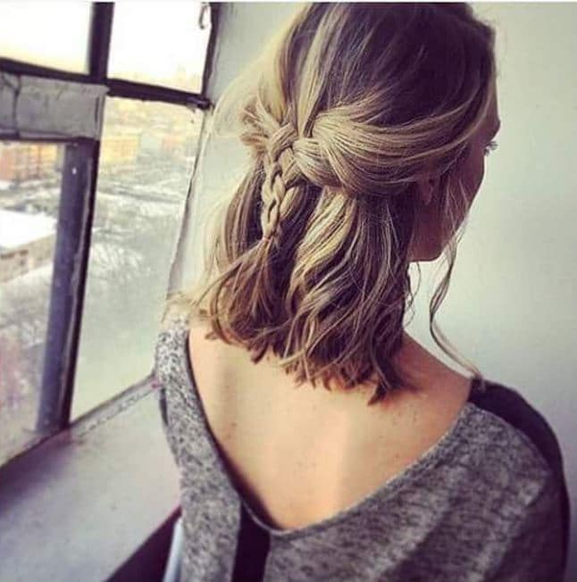 Easy braids for short hair: Back view of dark blonde hair with half-up, half-down braid