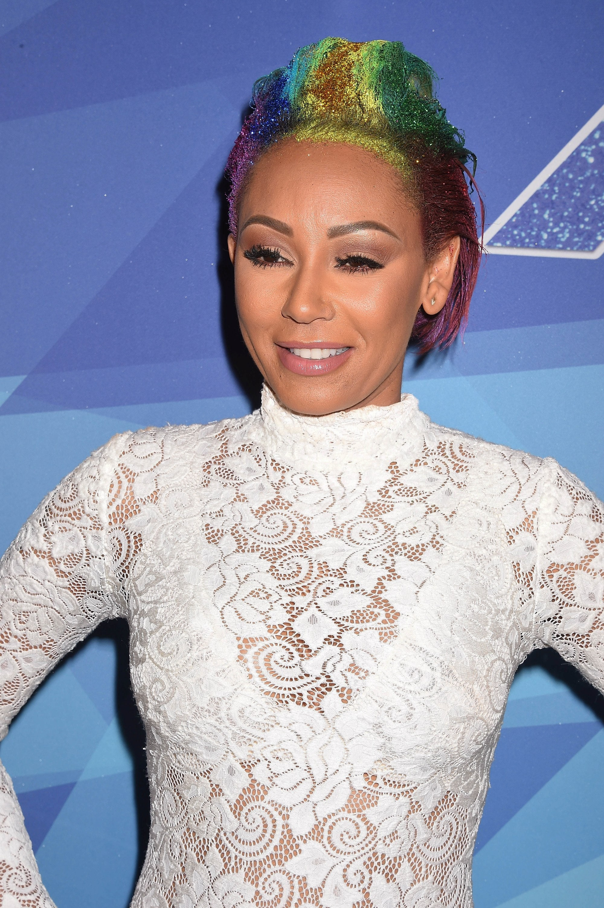 close up shotof mel b with rainbow hair for america's got talent red carpet