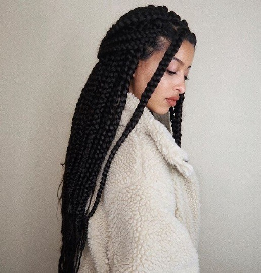 Dookie braids: Close up shot of a woman with long dark brown dookie braids styled into a half-up, half-down hairstyle.