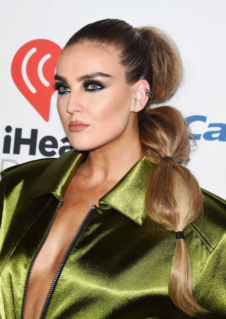 Perrie Edwards extra long blonde hair in bubble ponytail