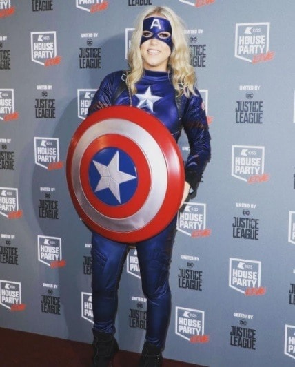 x factor singer amelia lily dressed as captain america for the kiss fm halloween live party