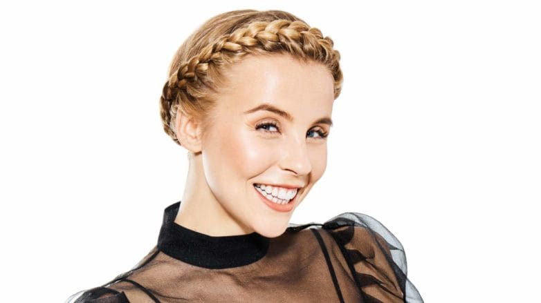 Chessie King with a party-ready halo braid