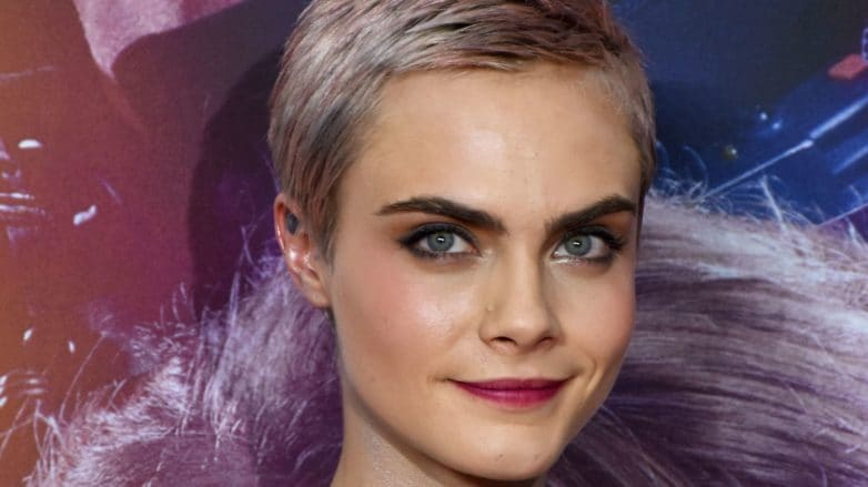 cara delevingne with short silvery pink hair