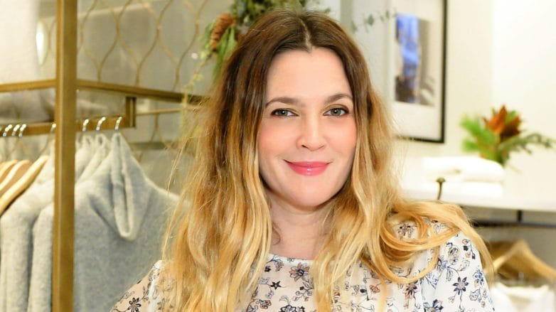 drew barrymore with brunette and blonde wavy ombre hair