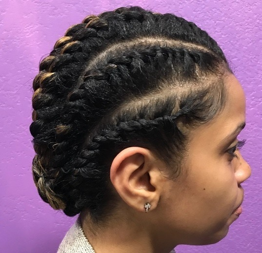 side profile of a woman with 2 strand twist set hair