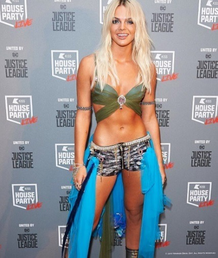 louisa johnson at the kiss fm halloween party dressed as britney spears