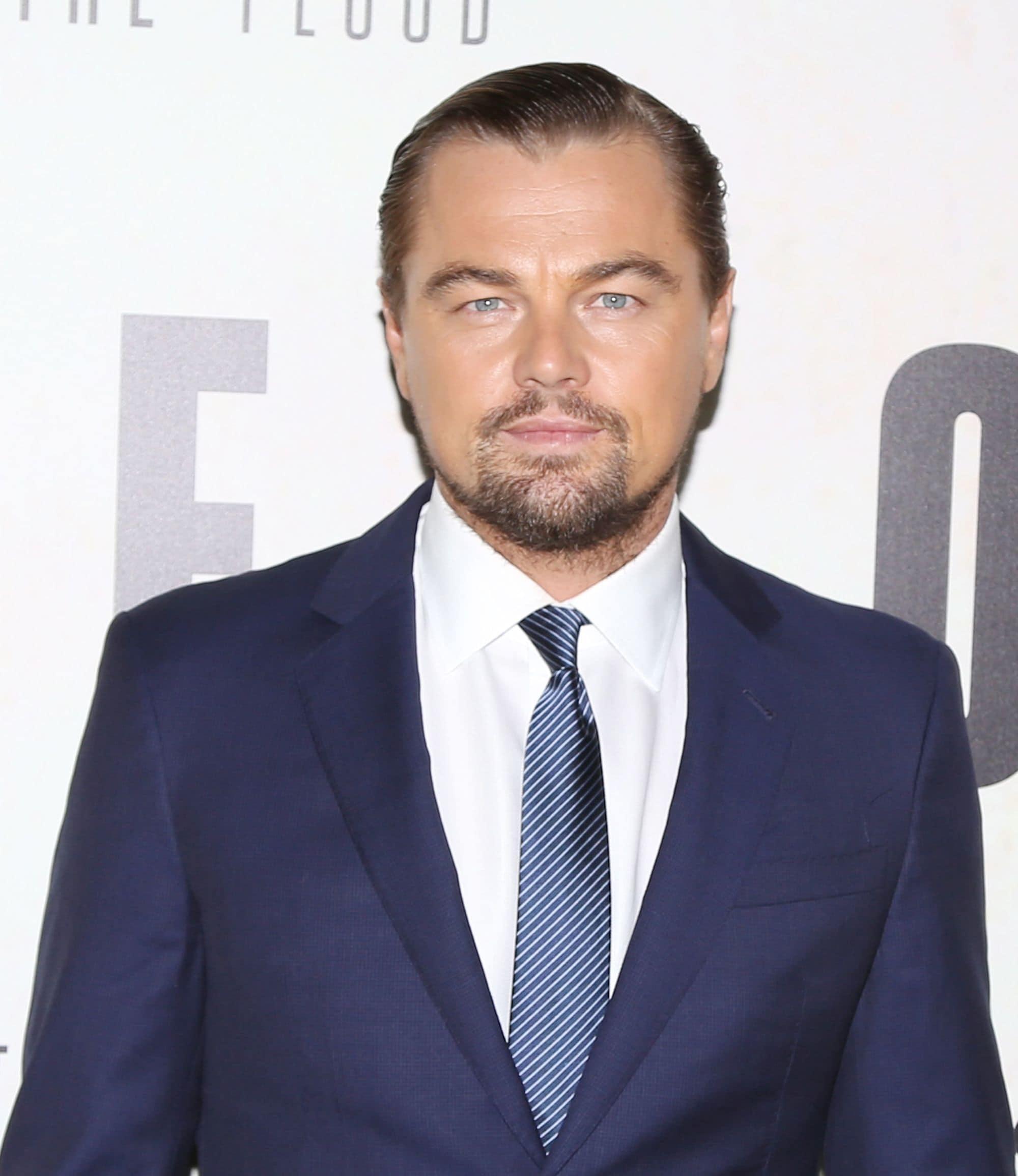 Leonardo DiCaprio wet look slicked back hair
