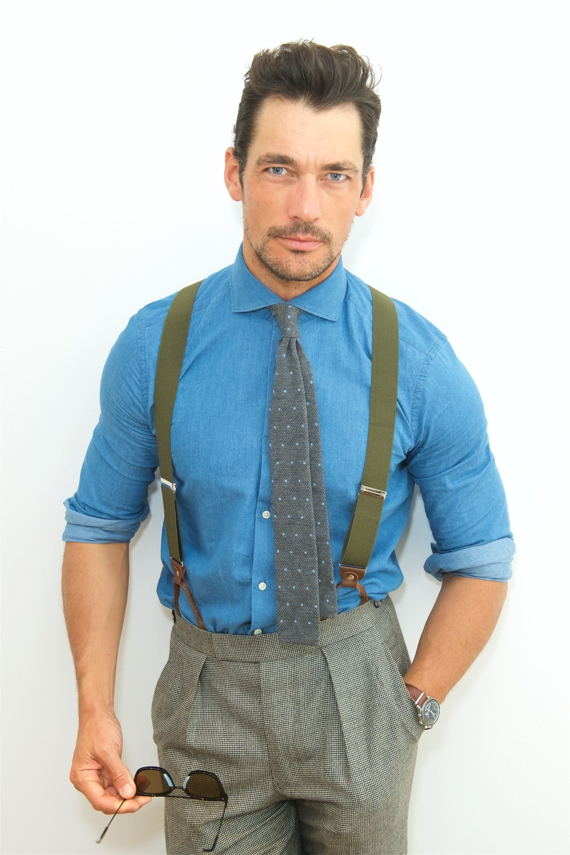David Gandy brown hair in tousled messy quiff style