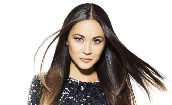 brunette Ana Tanaka with sleek straight hair