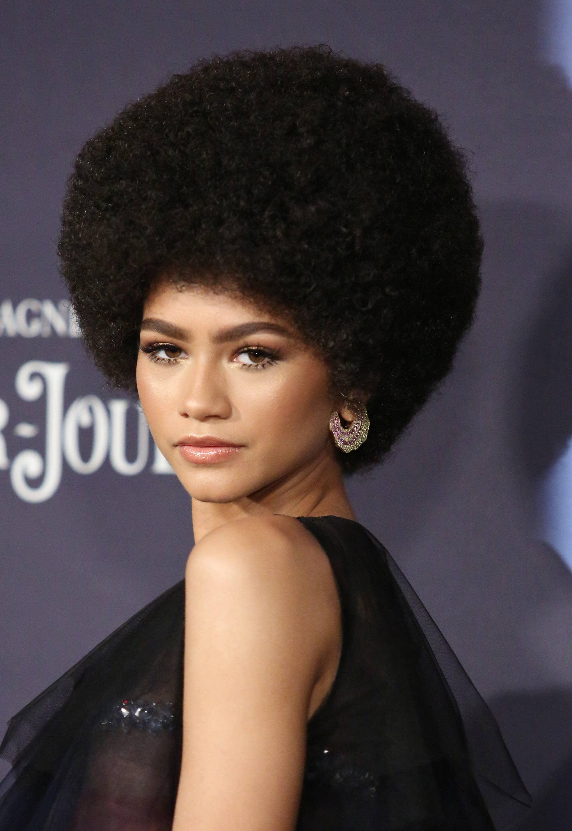 actress zendaya with voluminous afro hair