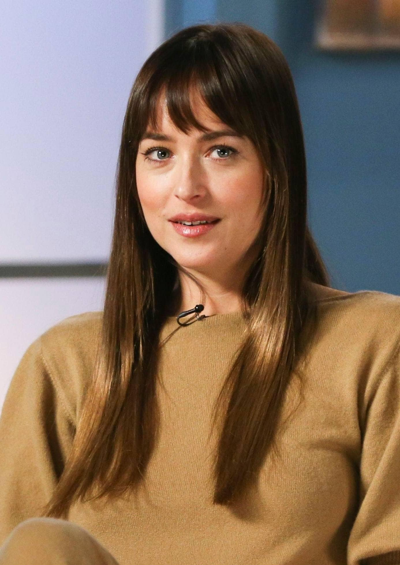 Haircuts for fine straight hair: Close-up of Dakota Johnson with long straight brown hair with a fringe