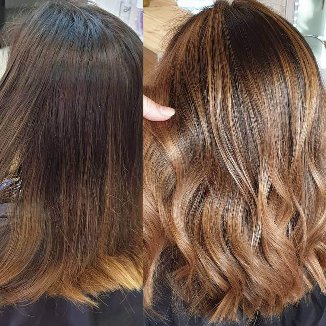 Before and after of a woman with dark to light honey hair