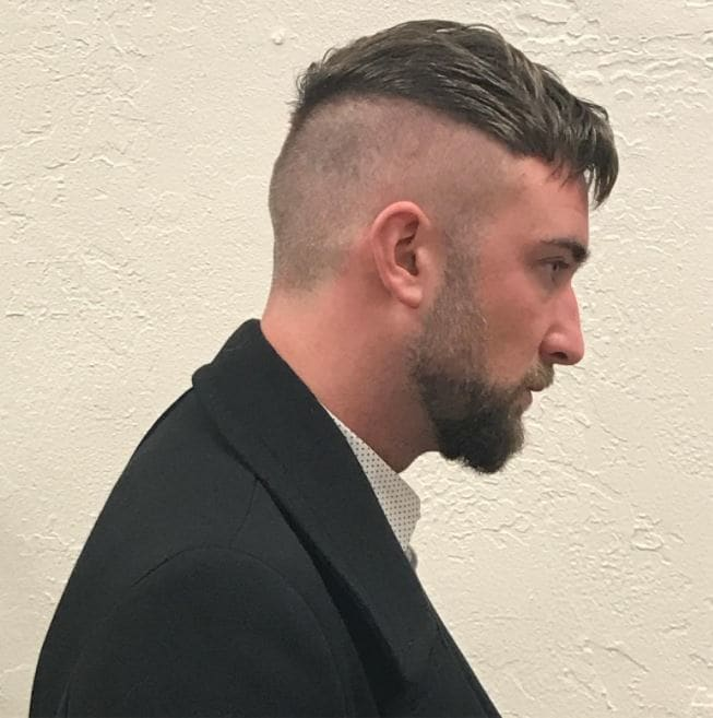 side view of brown hair in short undercut 1920s hairstyle