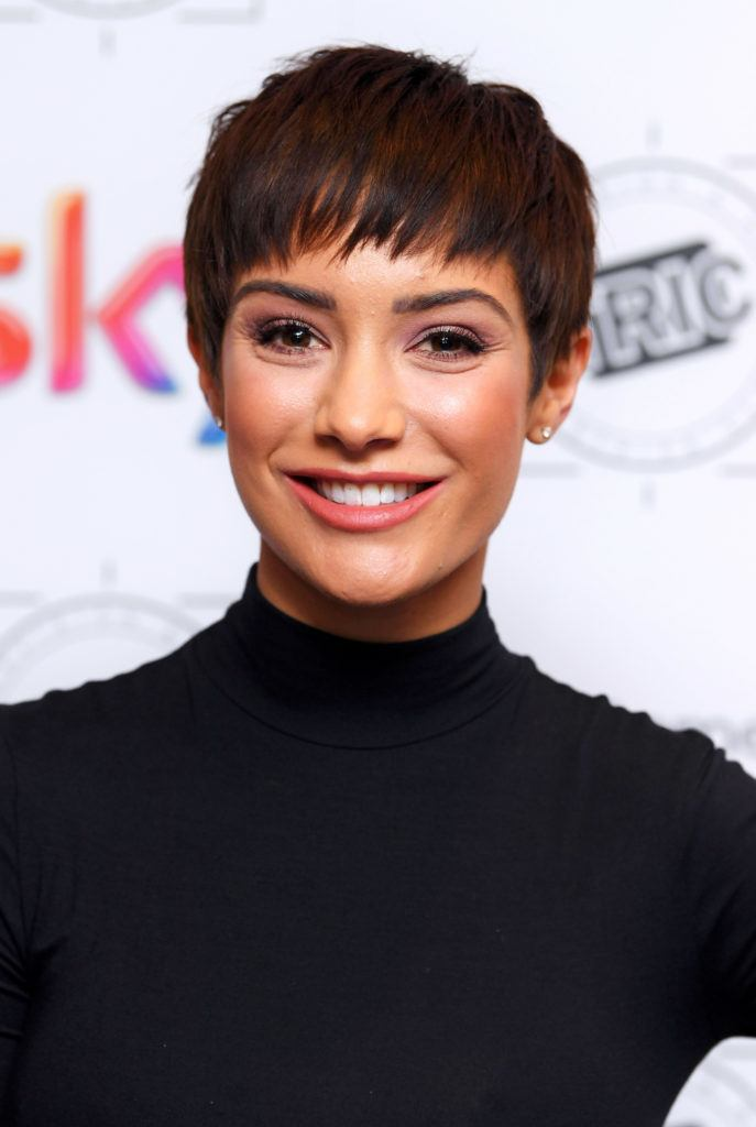 the saturdays and s club juniors singer frankie bridge in a black roll neck with her trademark brunette pixie cut
