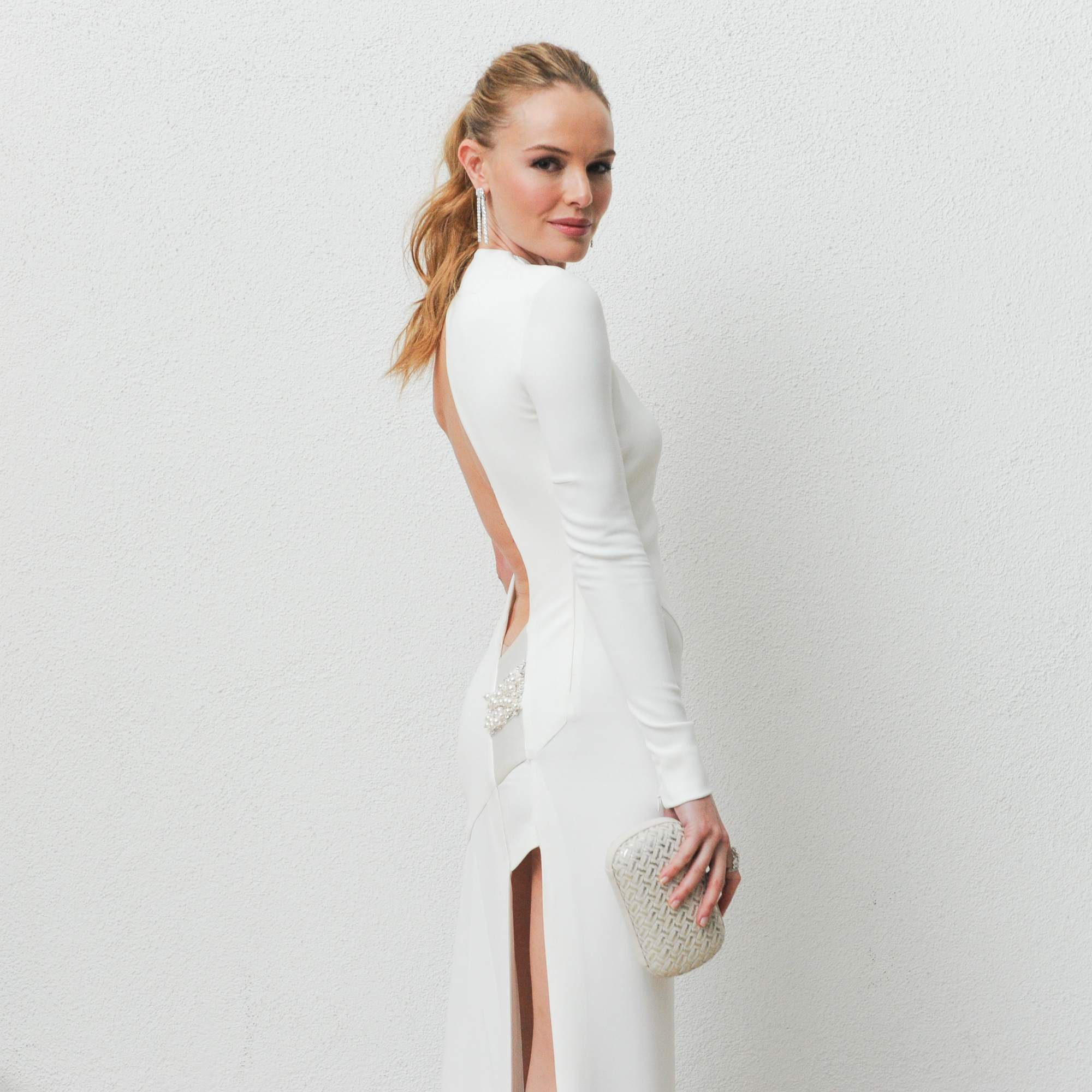 side view of kate bosworth with blonde long hair in high ponytail