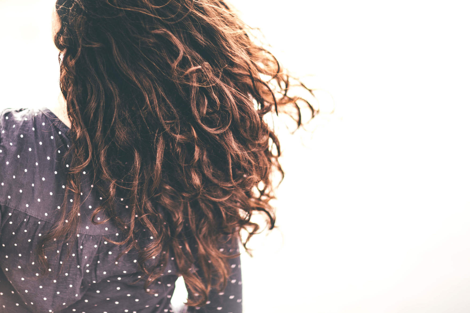 Permed hair care back of woman's head with brunette curly hair
