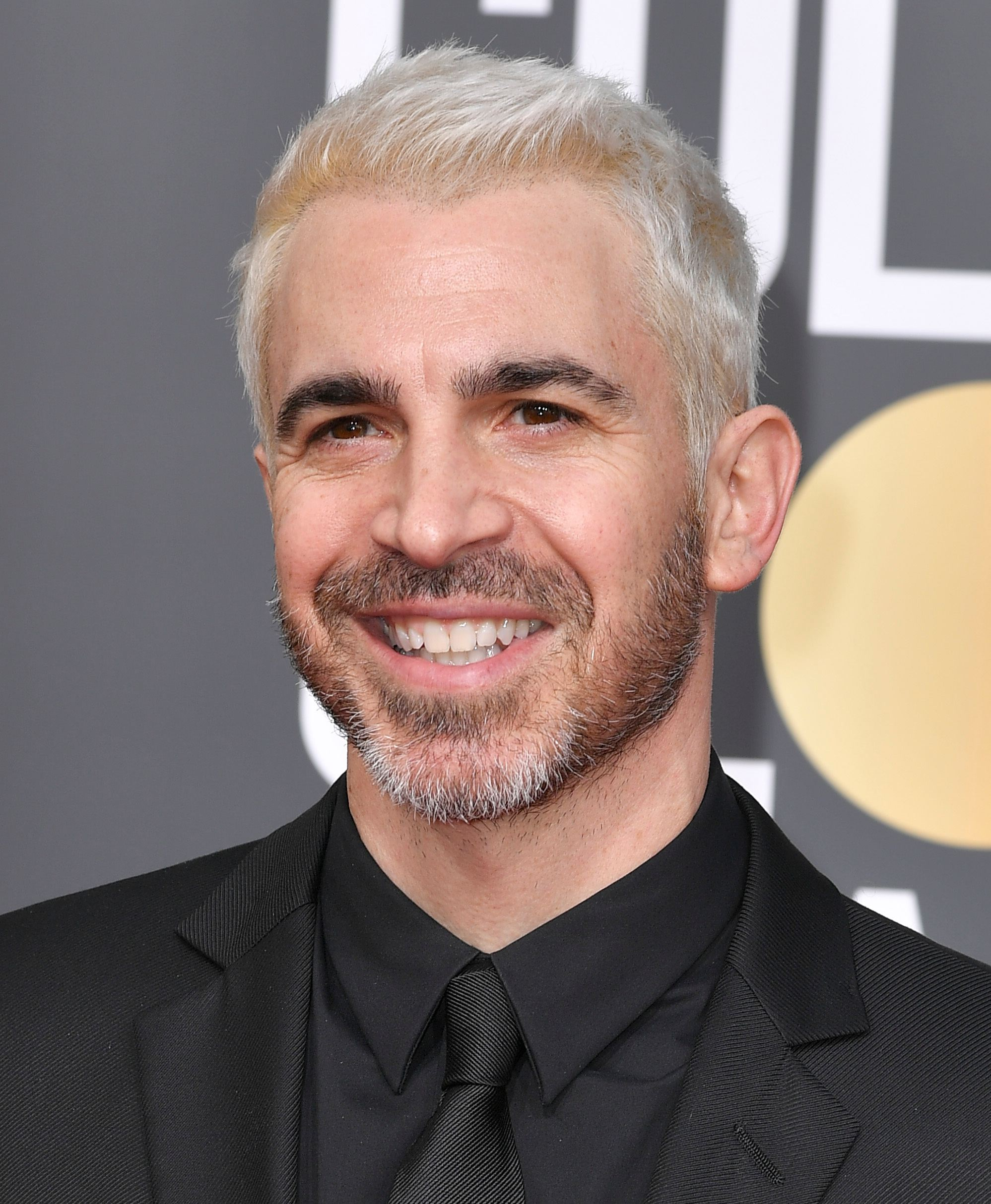 Golden Globes 2019: Close-up of Chris Messina with platinum blonde hair