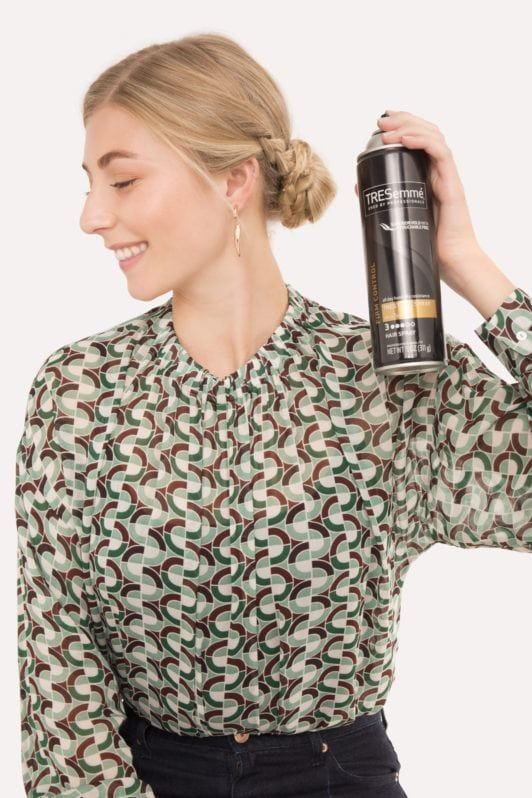 Braided bun tutorial blonde girl with hairspray