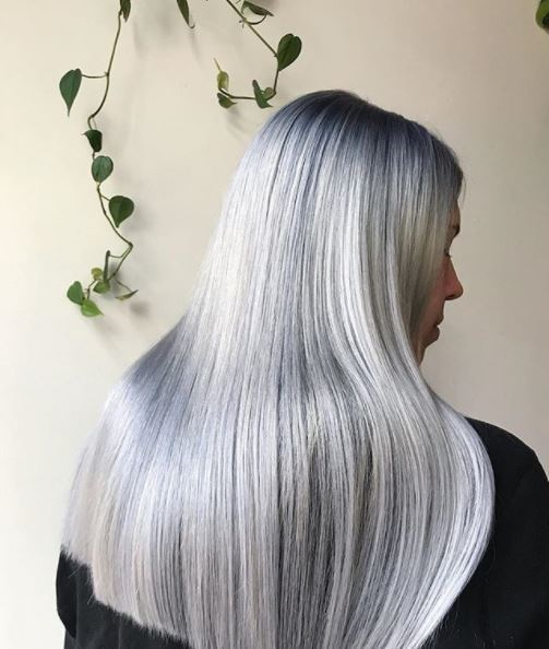back view of metallic silver hair on long straight hair