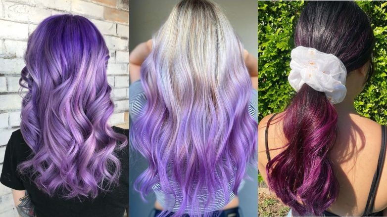 Three women with wavy purple ombre hair