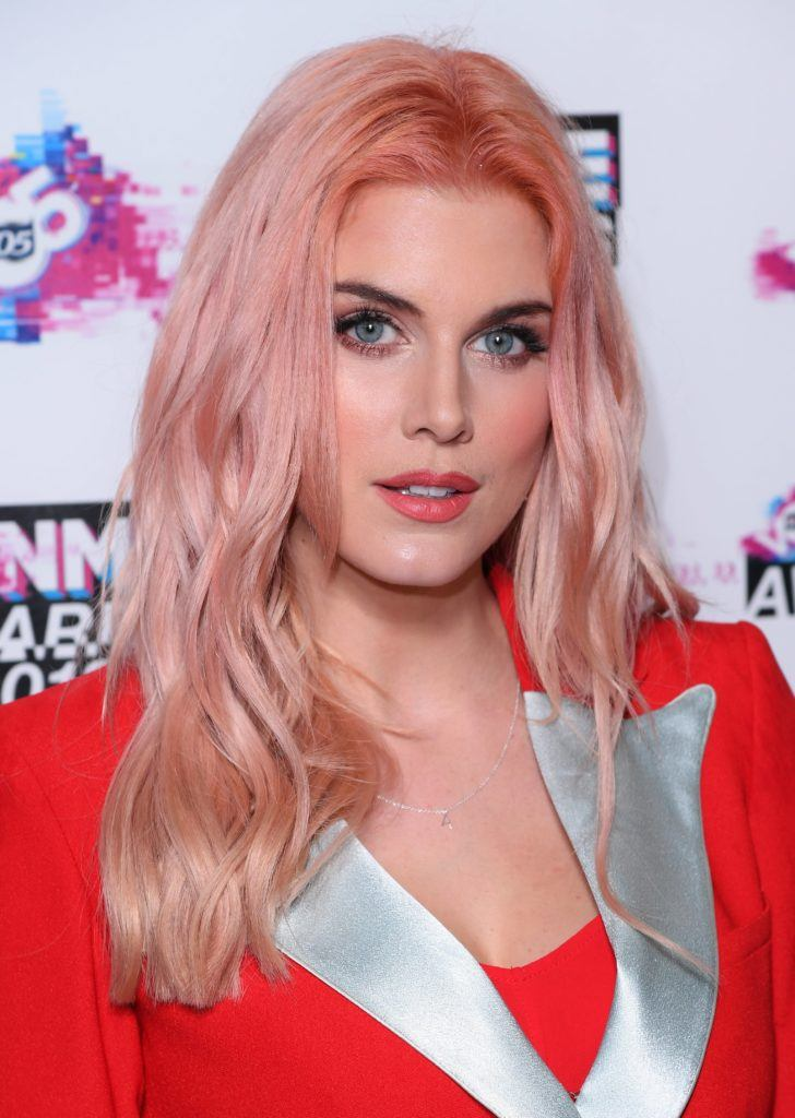close up shot of ashley james with rose gold pink