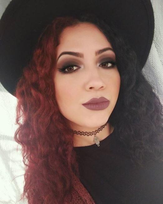 half red half black curly long hair