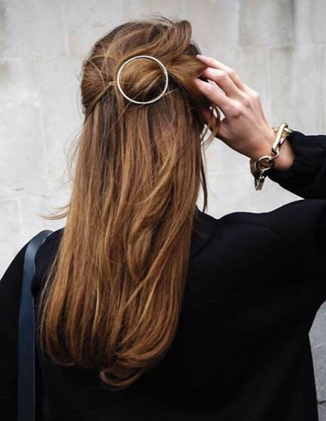 back view of long brown auburn straight hair in half-up, half-down style