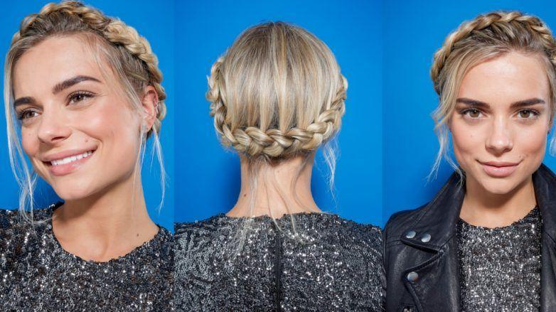 Pleasant How To Crown Braid On Short Hair Easy Video Tutorial Schematic Wiring Diagrams Phreekkolirunnerswayorg