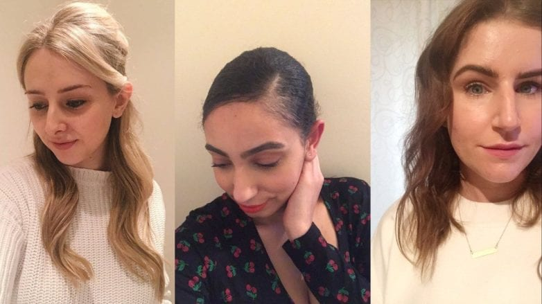 all things hair junior beauty editors beth amra and leona trying different hairstyles (bouffant, side part and hidden braids) as seen on the catwalks of aw18