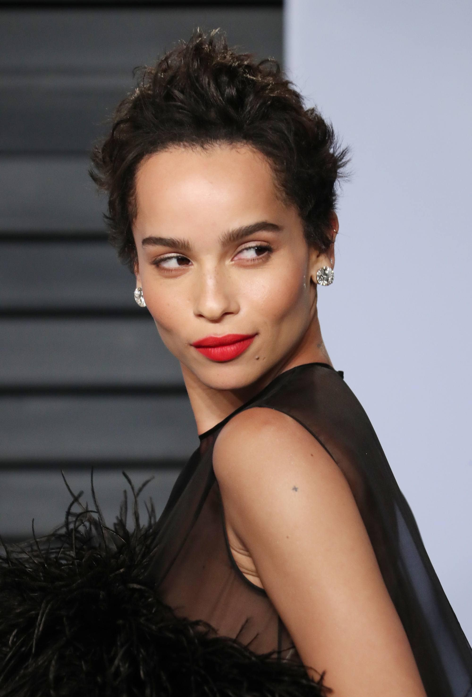 zoe kravitz dark brown spiky pixie cut on red carpet wearing red lipstick and black sheer dress
