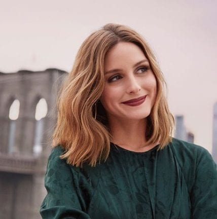 fashion insider and entrepreneur olivia palermo with honey brown lob hair