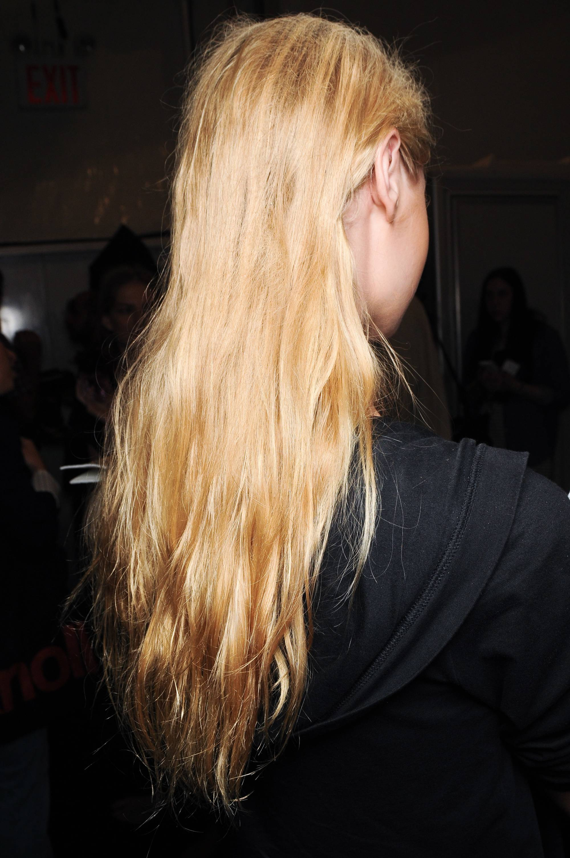 How many hairs do you lose a day blonde model with long hair