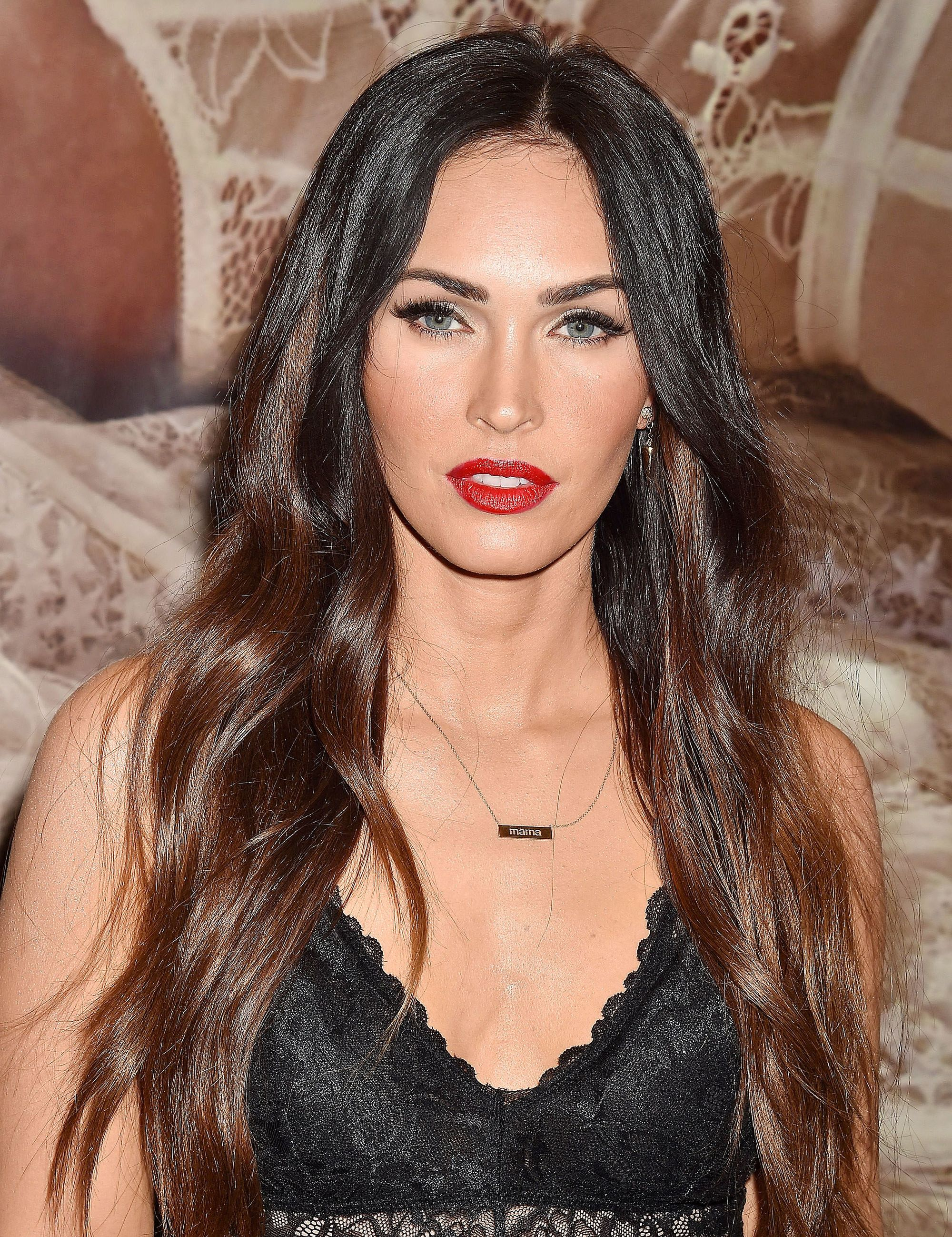 megan fox with long black brunette hair with chocolate lowlights