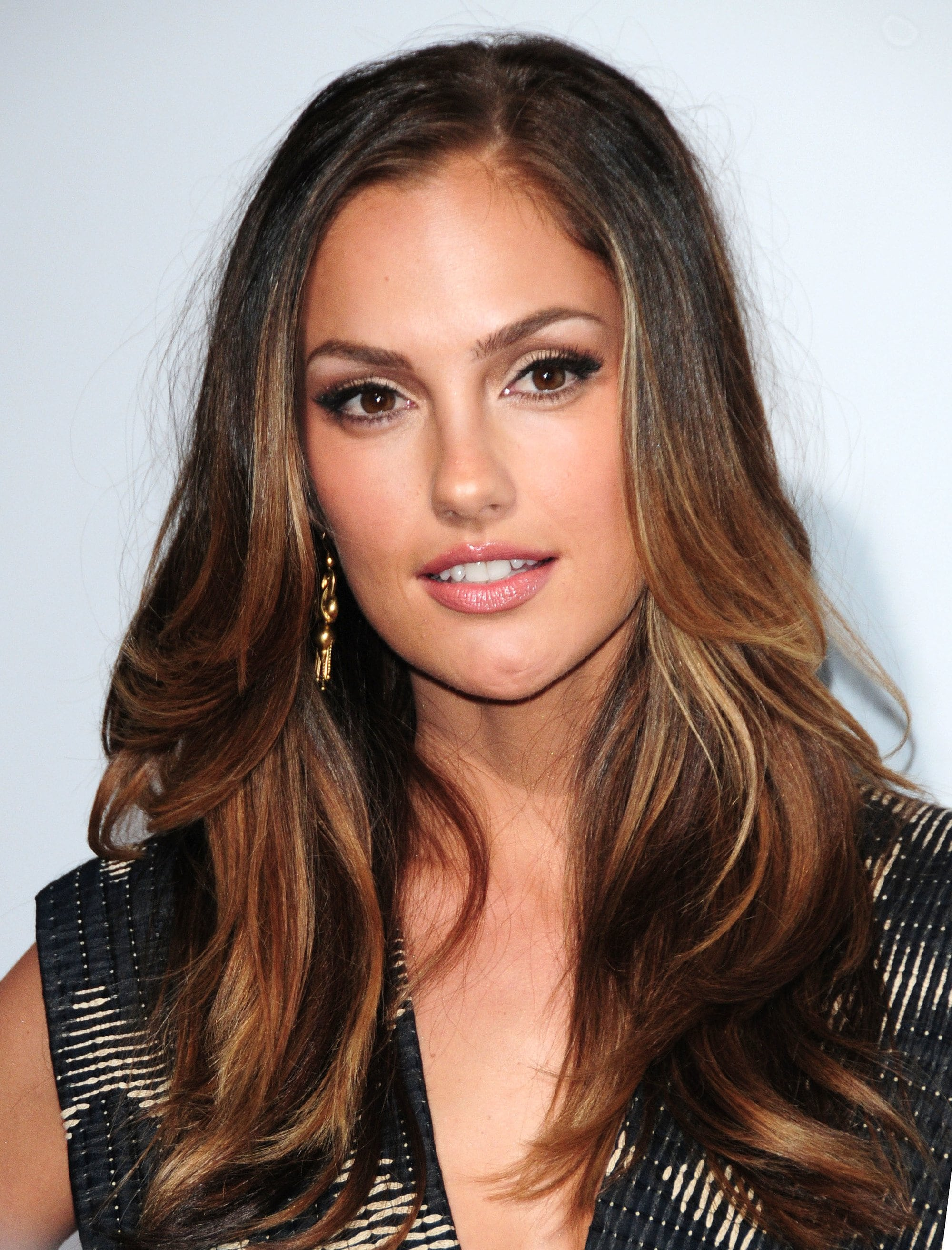 minka kelly with blowout brunette hair with lowlights