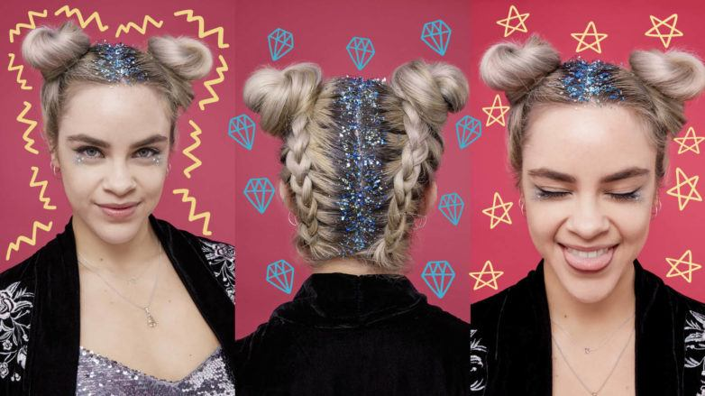 collage of three photos of a blonde model with her hair in braided space buns with squiggles diamond and star graphics