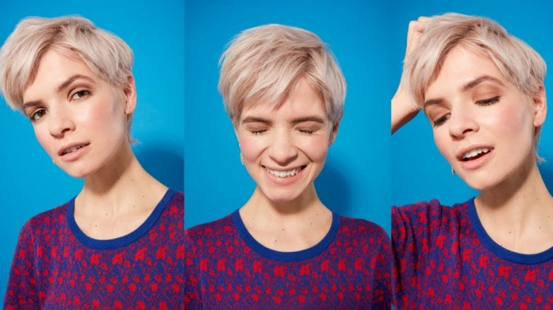 three images of a woman with platinum blonde hair in a pixie cut style