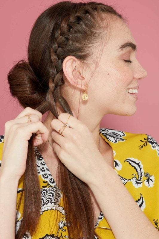 How to do the perfect French braid updo (video & photo step