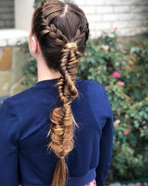 Back view of a woman with very long brunette hair in a braided ponytail made up of DNA braids and other mix and match braiding styles.