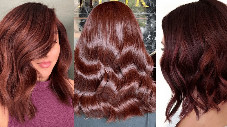 Women with different types of red brown hair colours