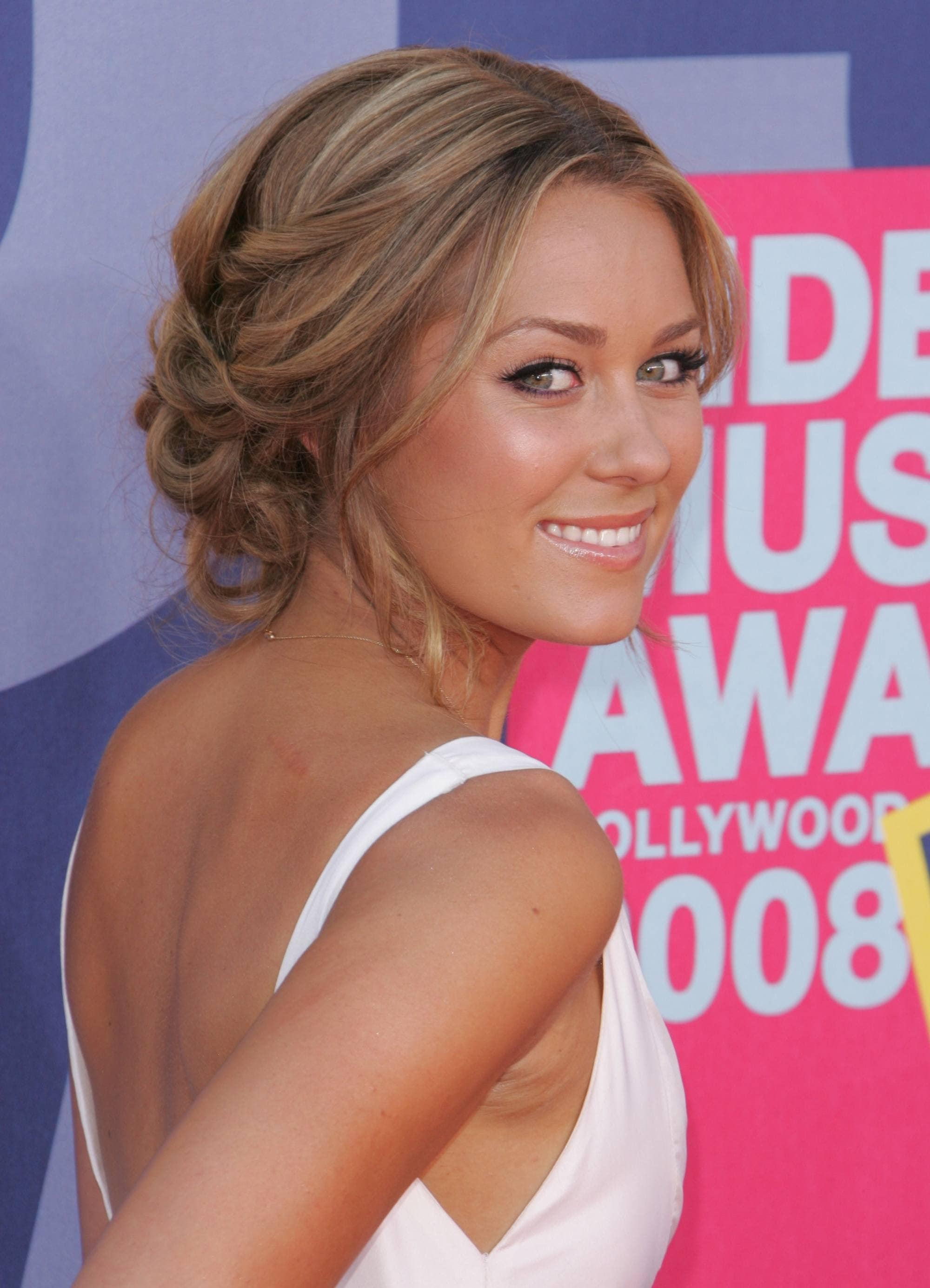 Lauren Conrad from MTV's The Hills with her blonde hair in a Grecian inspired updo chignon
