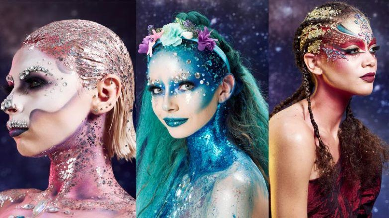 Halloween hair: Three women, one dressed as a sugar skull, the other as a mermaid and the last one as a dragon