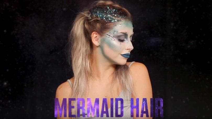 Stephanie Toms from @itsstephtoms with glittery braided mermaid hair: tutorial in partnership with superdrug, video still
