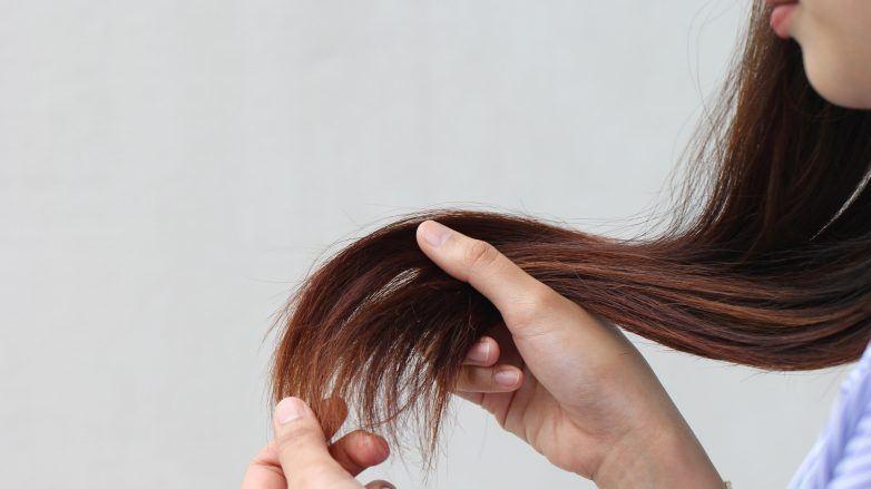 Woman holding her damaged, split hair